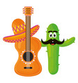 Mexican cactus with hat and guitar comic character