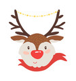 rudolf deer in red scarf icon vector image vector image