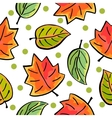 Seamless autumn leaves pattern on white background vector image