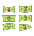 Set money Dollar with emotions Cheerful and angry vector image vector image