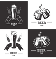 Set of beer insignia logos with glassware isolated vector image
