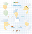 Set of images of the cook and various dishes vector image vector image