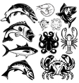 set of monochrome freshwater and marine fish and vector image vector image