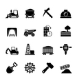Silhouette Mining and quarrying industry icons vector image