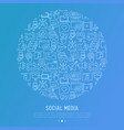 social media concept in circle vector image vector image
