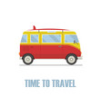 time to travel concept hippie van isolated vector image vector image