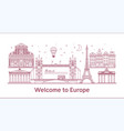 welcome to europeposter with famous attractions vector image vector image