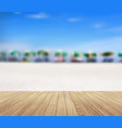 wood planks floor on a beautiful beach vector image