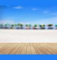 wood planks floor on a beautiful beach vector image vector image