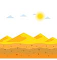landscape yellow sand dunes at desert soil vector image