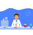 a laboratory assistant is conducting blood test vector image vector image