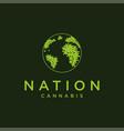 abstract earth globe cannabis logo icon template vector image vector image