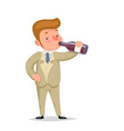 alcoholism male guy character cartoon design vector image