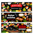 asian sushi rolls food japanese seafood cuisine vector image vector image