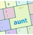 aunt word on keyboard key notebook computer vector image vector image