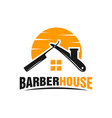 barber house hair logo vector image vector image