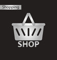 black and white style icon basket shop vector image