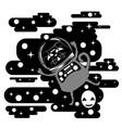 black cat astronaut vector image vector image