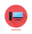 black computer with blank screen flat style icon vector image