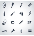 Black cosmetics icon set