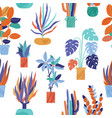 bright seamless pattern with funky houseplants vector image