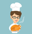 caucasian chief cook holding roasted chicken vector image