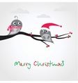 Christmas greeting card with birds on the tree vector image