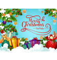 christmas holiday greeting card with santa gift vector image vector image
