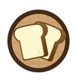 circular wooden border with slice of bread vector image