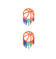 color basketball brush symbols vector image vector image