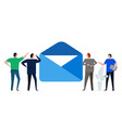 contact us large envelope team looking at email vector image vector image