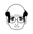 contour old man face with glasses and hairstyle vector image vector image