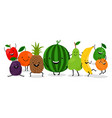 cute kawaii fruits characters set happy vector image