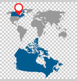 detailed map of canada and world map navigation vector image vector image