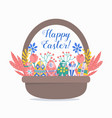 easter eggs in basket with floral elements vector image