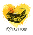 Fast food background with splash watercolor heart vector image vector image