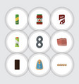 flat icon food set of fizzy drink packet beverage vector image vector image