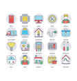 flat icons set of home and services vector image