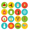 Flat Winter Christmas Icons vector image