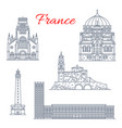 france travel landmarks icons vector image vector image