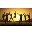 Friends Jumping During a Sunset vector image vector image