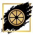 fruits lemon sign golden icon at black vector image vector image