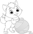 funny kitten with a ball threads vector image vector image