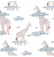 giraffe in clouds cute nursery cartoon wild vector image
