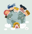 globe kids international friendship day earth vector image