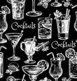 Hand drawn sketch cocktails seamless pattern vector image
