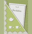 invitation card for tea decorated with laceon vector image vector image