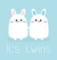 its twins boy girl two cute twin bunny rabbit set vector image vector image