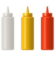 ketchup mustard mayo plastic squeeze bottle vector image vector image