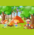 kids camping out in the woods vector image